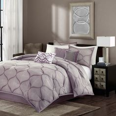 Madison Park Vella 7-pc. Comforter Set, Purple (Lavender) ($160) ❤ liked on Polyvore featuring home, bed & bath, bedding, comforters, purple, purple king size comforter set, king shams, king size pillow shams, king size comforter set and queen comforter