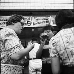Nathan's Hot Dog Stand, Coney Island, Photo by Andrew Herman, 1939, From the Museum of the City of New York [link]