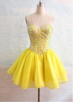 Homecoming Dress,Pink Homecoming Dresses,Short Prom Gown,Yellow Homecoming Gowns,2016 Homecoming Dress