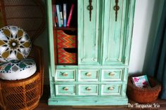Painted Furniture, Vintage Armoire in Mint & Creme by TheTurquoiseIris on… Bedroom Furniture Redo, My Furniture, Furniture Makeover, Painted Furniture, Bedroom Ideas, Vintage Armoire, Furniture Vintage, Mint Paint, Large Bathrooms