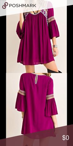 Coming Soon! SOLID RAYON EMBROIDERY DRESS SOLID RAYON EMBROIDERY DRESS Color:  Wine Solid rayon embroidery with piping detail dress featuring keyhole on back with button closure.  Fully lined. Non-sheer. Woven. Lightweight.   100%RAYON Boutique Dresses Long Sleeve