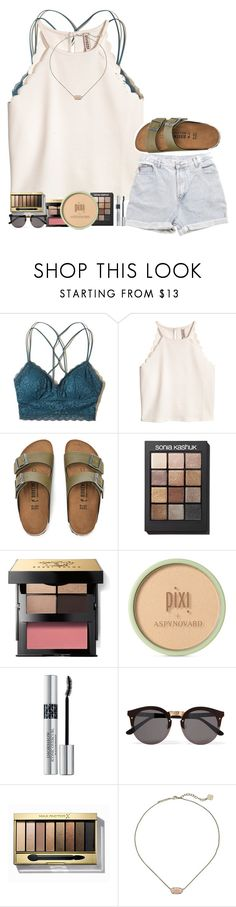 """""""Give it to God"""" by amaya-leigh ❤ liked on Polyvore featuring Hollister Co., Levi's, Birkenstock, Sonia Kashuk, Bobbi Brown Cosmetics, Pixi, Christian Dior, Illesteva, Max Factor and Kendra Scott"""