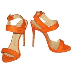 Pre-owned Giuseppe Zanotti Coline 120mm Leather Pump Size 36 Orange... ($385) ❤ liked on Polyvore featuring shoes, sandals, orange, pre owned shoes, orange sandals, leather platform shoes, leather shoes and giuseppe zanotti sandals