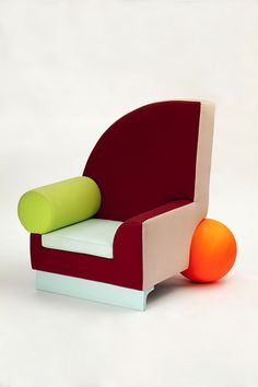Bel Air chair, 1982 by Peter Shire (Memphis) (painted wood, coloured cotton fabric)