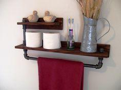 Rustic Industrial 2 Tier Towel Rack, Towel Bar, Bathroom Shelf, Eco Friendly