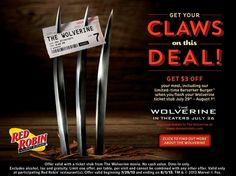 RED ROBBIN $$ Reminder: Get $3 off With Wolverine Movie Ticket Stub – Starts TODAY (7/29)!