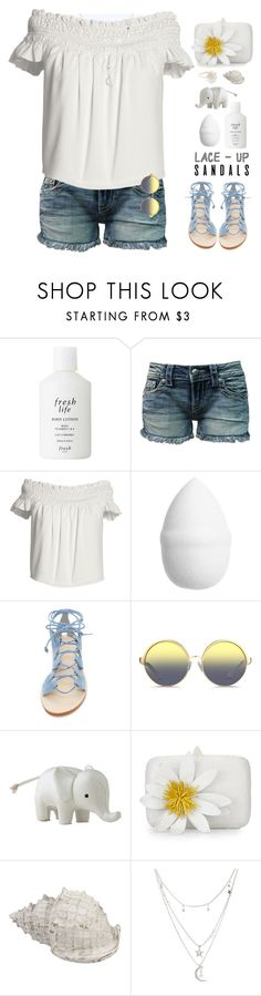 """""""Cute in an off the Shoulder Top &  Denim Shorts!"""" by prettynposh2 ❤ liked on Polyvore featuring Fresh, Miss Me, Canvas by Lands' End, H&M, Cornetti, Matthew Williamson, Serena & Lily, Nancy Gonzalez, Charlotte Russe and Alex Monroe"""