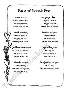 Parts of Speech Poem free