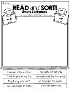 LONG VOWEL sentence word sort!