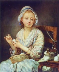 Jean-Baptiste Greuze (French Rococo Era Painter, 1725-1805) The Wool Winder
