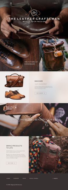 Web design and brand identity for project The Leather Craftsman . They dream of a fair trade world, where each can build an independent…