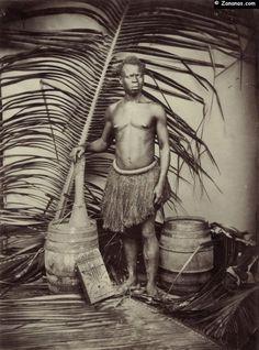 Portrait d'un congolais. Après l'abolition de l'esclavage en 1848, les planteurs de la Martinique font venir par bateaux des travailleurs depuis l'Inde et le Congo.