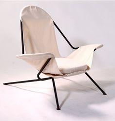 Paolo A. Chessa; Enameled Iron and Canvas Lounge Chair for J.G. Furniture, c1950.