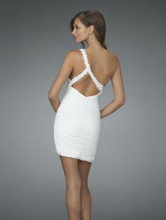 2011 Style Sheath / Column One Shoulder  Sleeveless Short / Mini  Chiffon  Bridesmaid / Cocktail Dresses / Homecoming Dresses