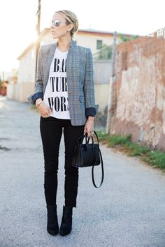 Damsel in Dior | J.Crew Regent Blazer in Plaid; Loft Ankle Jeans; Zara Booties; Bad Turn Worse T-Shirt (custom made by Jacey Duprie)