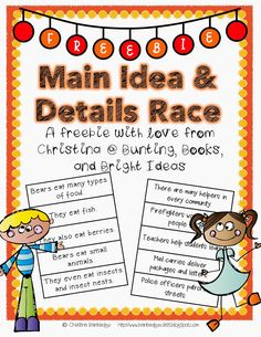 *Bunting, Books, and Bright Ideas*: Main Idea and Details *FREEBIE*!