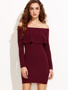 Check Best Price for SHEIN Burgundy Flounce Elegant Party Dress,Women 2017 Autumn Trends Sexy Bodycon dresses,Smart-Casual Clothing,Off th. Elegant Party Dresses, Party Dresses For Women, Dress Vestidos, Fashion Mode, Party Fashion, Fashion Trends, Fashion Ideas, Burgundy Dress, Long Sleeve Mini Dress