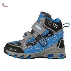 Kappa  POLIZEI MID K Footwear Kids, Sneakers Basses mixte enfant - gris - Gris/bleu (1660), 34 EU - Chaussures kappa (*Partner-Link)