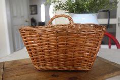 Vintage Farmhouse Hanging Wicker Basket