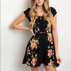 Floral Fit n' Flare Drss Adorable Black Fit and Flare Dress with Multicolored Floral Printing on the front. Short sleeves, Scoop Neckline, and a removable waist belt. Perfect for spring and summer. Paired along with sandals for a casual look! Heels or wedges or a more dressed up look!  96%Polyester 4%Spandex    Sizes Available: S,M,L  *Please do not purchase this listing, I will create a new listing with your size* Thank you, Xo Boutique Dresses Mini