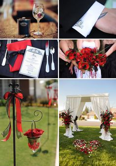 red and black. and still so shic.love the black and red table setting.