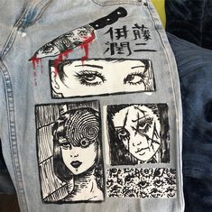 graduation college New video on YT Tin Cans waterdoodle (Prints coming to Etsy) Look Fashion, Diy Fashion, Ideias Fashion, Fashion Design, Painted Jeans, Painted Clothes, Mode Outfits, Grunge Outfits, Diy Clothing
