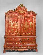 Red Chinoiserie Decorated 19th C. Dutch Linen Press    from Pia's Antique Gallery on Ruby Lane