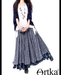 Длинная юбка комбинированной расцветки в стиле бохо, 17011150532 купить за 33570 руб. с доставкой по России, Украине, Беларуси и миру | Artka: интернет-магазин обуви и одежды Artka