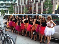 My Tutu Bachelorette: pink orange and red are the wedding colours, they are each wearing the colour that their dress is for the wedding! We got a million compliments as we partied in Toronto!