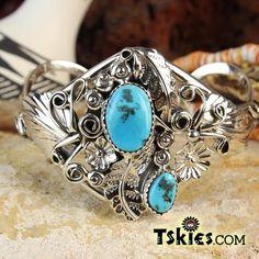 https://tskies.com Kingman Turquoise Silver AppliquŽ Bracelet by Harry B Yazzie - Turquoise Skies