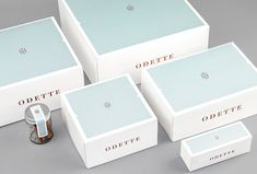 Branding and packaging design by Dmowski & Co. for the new Warsaw, Poland based bakery, Odette. The Polish branding and graphic design studio Bakery Branding, Bakery Packaging, Food Packaging Design, Packaging Design Inspiration, Brand Packaging, Tea Packaging, Logo Branding, Cake Boxes Packaging, Cupcake Packaging