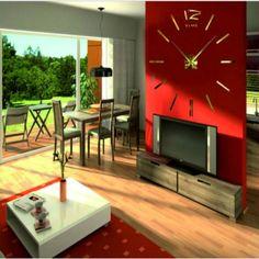 Wall Clock Sticker, Mirror Wall Clock, Wall Clocks, Wooden Clock, Wooden Walls, Stickers, Living Room, Jewelry, Stylish Watches