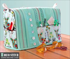 Sewing Machine Cover with Decorative Stitching Accents