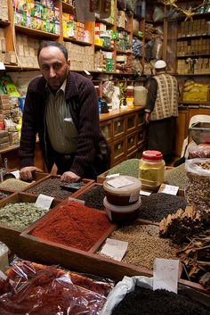 Mustafa in his shop, in the Aleppo souq. Aleppo's souqs are among the greatest in the entire Middle East...