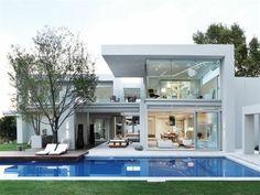 villa contemporaine, maison blanche moderne