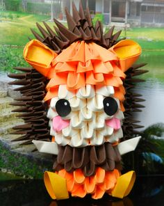 Etsy の 3d origami Lion Kid by 3Dorigamidreambank