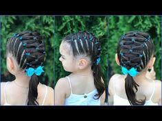 (13) Peinado para niñas fáciles y rápidos de hacer con ligas cruzadas a lado y lado|LPH - YouTube