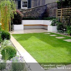Contemporary garden, path, seating area. Like