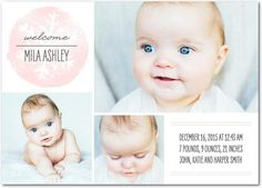 Celebrate the arrival of your baby girl with an adorable snowflake-inspired rose pink birth announcement card.