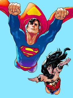 Supes & Wondie in Superman Wonder Woman Comic, Superman Wonder Woman, Comic Books Art, Comic Art, Book Art, Superman And Superwoman, Nerd Love, Dc Characters, Justice League