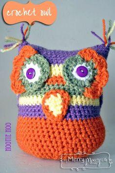 My Merry Messy Life: Free Crochet Owl Amigurumi Pattern ~ Owl Crochet Patterns, Crochet Owls, Owl Patterns, Cute Crochet, Amigurumi Patterns, Crochet Crafts, Crochet Yarn, Crochet Projects, Crochet Bunting
