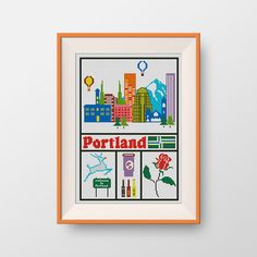 BUY 2, GET 1 FREE! Portland cross stitch pattern, State of Oregon cross stitch pattern, Instant Download, pdf, Little New Orleans, P206 by NataliNeedlework on Etsy