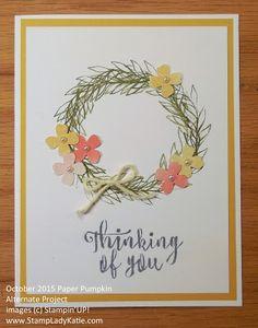 Blissful Bouquet - October 2015 Paper Pumpkin - Alternative idea - Itty Bitty Accents Punch Pack, Pearls, Linen Thread