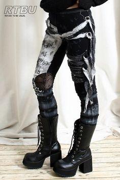 Unisex Ultra Long Zombie Gauze Punk Gothic Punk Distressed Tie Dye Legging/Pants Mesh Patch