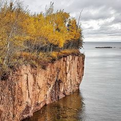 Cliffs along the shore of Lake Superior you'll see if you bike or hike the Gitchi-Gami Trail