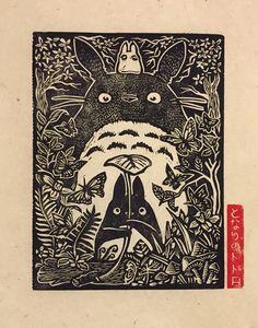 Totoro Block Print by WoodcutEmporium on Etsy