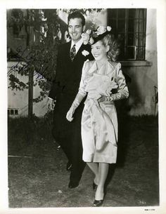Newlyweds John Payne (1912-1989) and Gloria DeHaven  (b. 1925) after their wedding in 1945