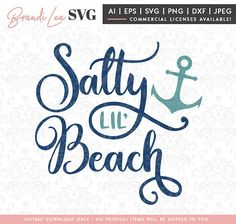 Salty lil Beach SVG, summer svg, beach svg, nautical svg, DxF, EpS, Quote SVG, Cut File, Cricut, Silhouette Instant download, Iron Transfer