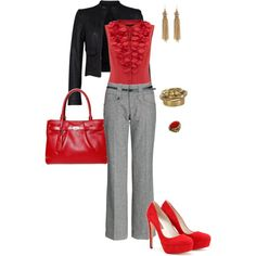 Another spiffy work outfit (red blouse/shoes, grey pants, leather jacket)