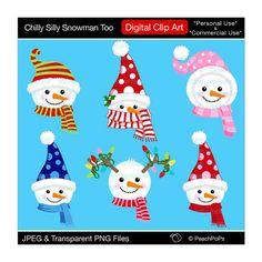 clip art digital clipart snowmen Christmas por peachpopsclipart